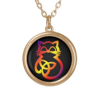 Rainbow Trinity Knot Celtic Cat Necklace