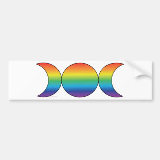 Rainbow Triple Moon Bumper Sticker