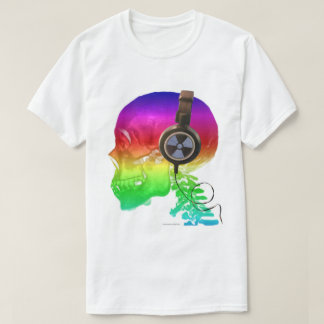 Rainbow Trippy Skull Bone Music T-Shirt