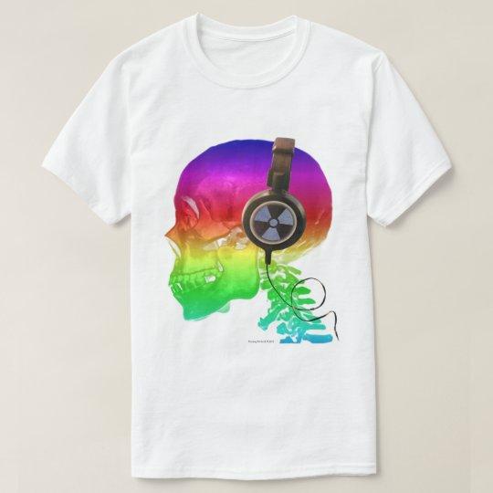 Rainbow Trippy Skull Bone Music T-Shirt