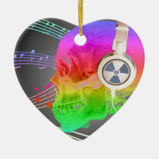 Rainbow Trippy Skull Music Psychedelic Dance Party Ceramic Heart Decoration