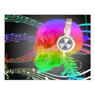 Rainbow Trippy Skull Music Psychedelic Dance Party Postcard