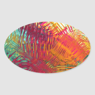 Rainbow Tropical Abstract Oval Sticker