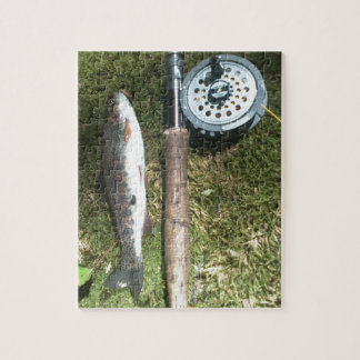 rainbow trout and fly fishing reel jigsaw puzzle