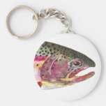 Rainbow Trout Fish Basic Round Button Key Ring