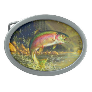 Rainbow Trout Fish Jumping for a Bug Belt Buckles