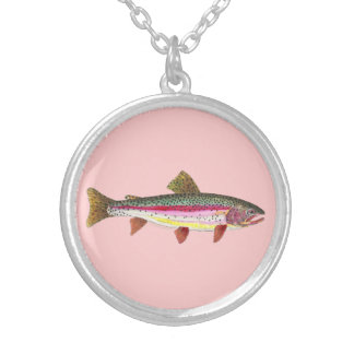 Rainbow Trout Fish Silver Plated Necklace