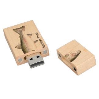 Rainbow Trout Fish Wood USB Flash Drive