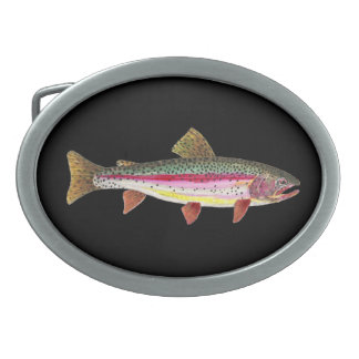 Rainbow Trout Fishing Angler Fisherman's Oval Belt Buckle