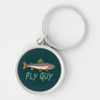 Rainbow Trout Fly Fishing Silver-Colored Round Key Ring