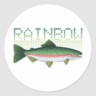Rainbow trout gift for an angler or fisherman round sticker