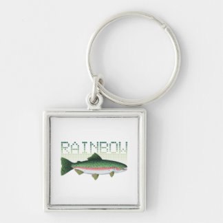 Rainbow trout gift for an angler or fisherman Silver-Colored square key ring