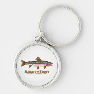 Rainbow Trout Latin Silver-Colored Round Key Ring