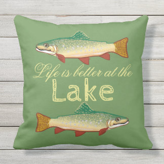 Rainbow Trout   Life is better at the Lake Outdoor Cushion