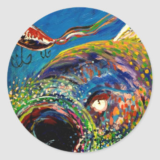 Rainbow Trout Tracking a Fishing Lure Round Sticker