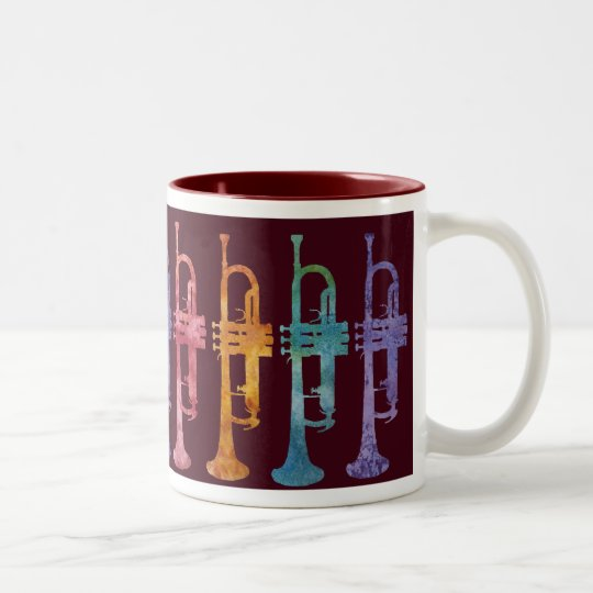 Rainbow Trumpets on Maroon Two-Tone Coffee Mug