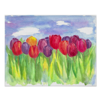 Rainbow Tulip Field Watercolor Painting Poster
