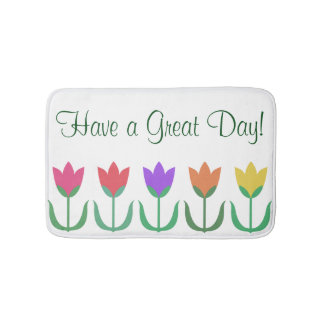 Rainbow Tulip Pattern Colorful Spring Tulips Row Bath Mat