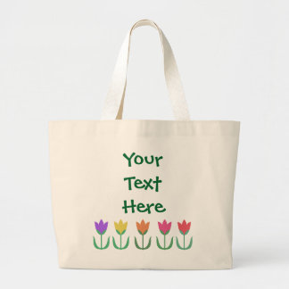 Rainbow Tulip Pattern Colorful Spring Tulips Row Large Tote Bag
