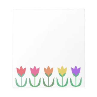 Rainbow Tulip Pattern Colorful Spring Tulips Row Notepad