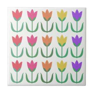 Rainbow Tulip Pattern Colorful Spring Tulips Row Tile