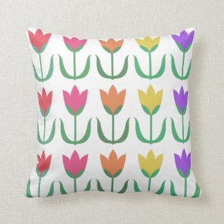 Rainbow Tulip Pattern Colourful Spring Tulips Rows Cushion