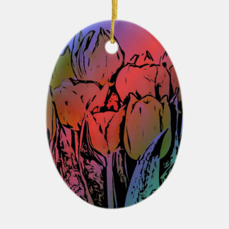 Rainbow Tulips Christmas Ornament