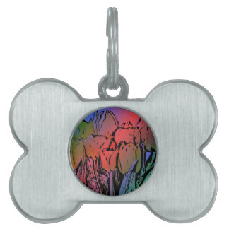 Rainbow Tulips Pet Name Tag