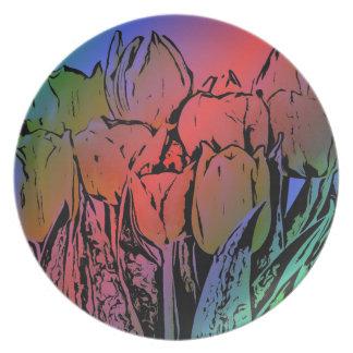 Rainbow Tulips Plate