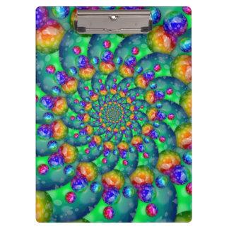 Rainbow Turquoise Bokeh Fractal Clipboard