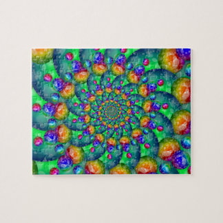 Rainbow Turquoise Bokeh Fractal Puzzles