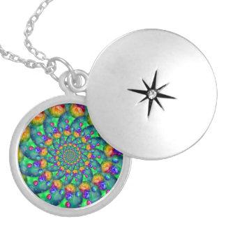 Rainbow Turquoise Bokeh Fractal Round Locket Necklace