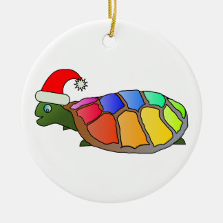 Rainbow Turtle with Santa Hat Christmas Ornament