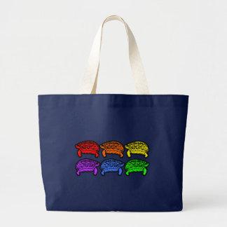 Rainbow Turtles Large Tote Bag