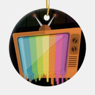 Rainbow TV Christmas Ornament