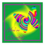 Rainbow Twirl Butterfly 13 Cm X 13 Cm Square Invitation Card