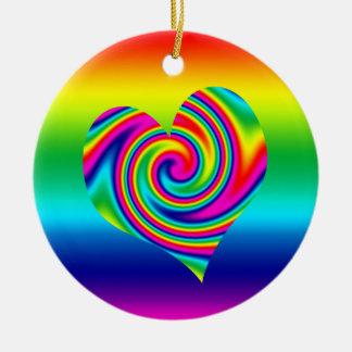 Rainbow Twirl Heart Christmas Ornament