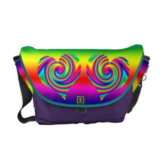 Rainbow Twirl Heart Commuter Bag
