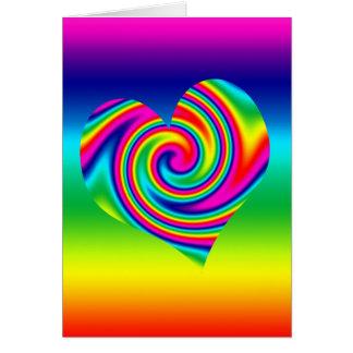Rainbow Twirl Heart Greeting Card