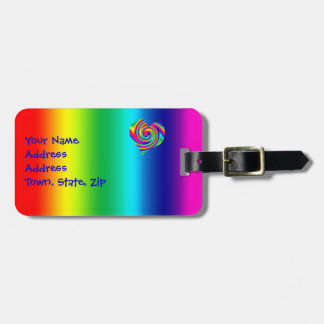Rainbow Twirl Heart Luggage Tag