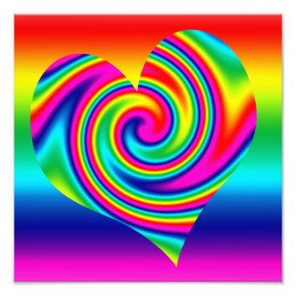 Rainbow Twirl Heart Photo Print