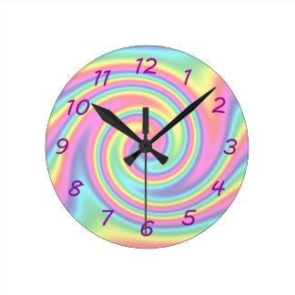 Rainbow Twirl Round Clock