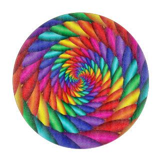 Rainbow Twist Spiral Fractal Cutting Board