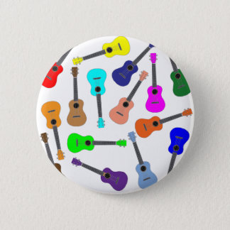 Rainbow Ukulele 6 Cm Round Badge