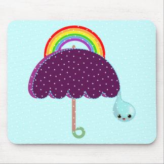 rainbow umbrella drop rain mouse pad