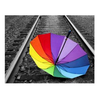Rainbow Umbrella On Train Tracks Postcard