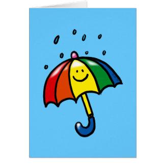 Rainbow umbrella & rain drops greeting card