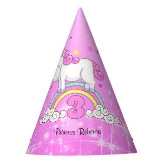Rainbow Unicorn 3rd Birthday Party Hat