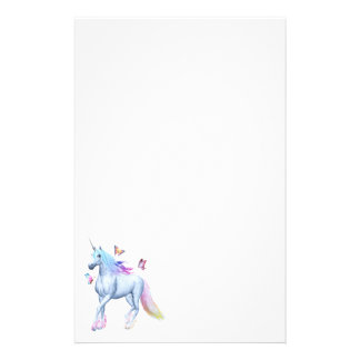 Rainbow unicorn and butterflies stationery design