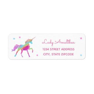 Rainbow Unicorn And Stars Address Label